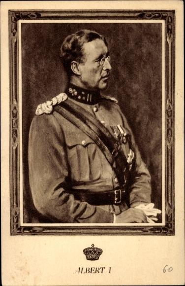 Künstler Ak König Albert I. von Belgien, Portrait