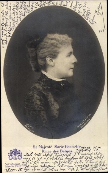Ak Königin von Belgien, Marie Henriette von Österreich, seitliches Profil