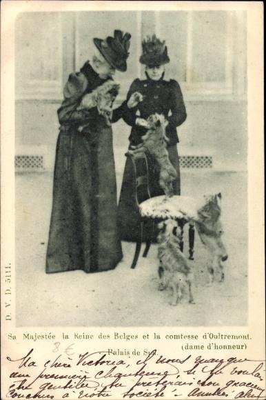 Ak Spa Wallonien Lüttich, Marie Henriette, Königin von Belgien, Comtesse d'Oultremont, Hunde