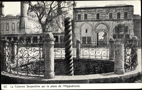 Ak Konstantinopel Istanbul Türkei, La Colonne Serpentine sur la place de l'Hippodrome