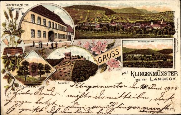 Litho Klingenmünster Rheinland Pfalz, Bierbrauerei H. Bourquin, Landeck, Irrenanstalt