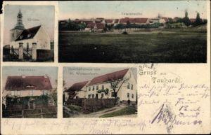 Ak Tauhardt Finne Burgenlandkreis, Kirche, Pfarrhaus, Geschäftshaus M. Weißenborn