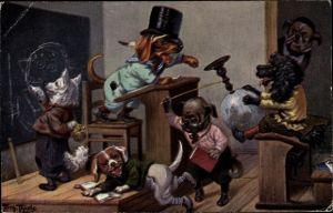 Künstler Ak Thiele, Arthur, Hundeschule, Dackel