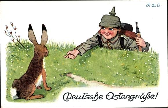 Künstler Ak Engelhard, P.O.E., Glückwunsch Ostern, Osterhase, Soldat