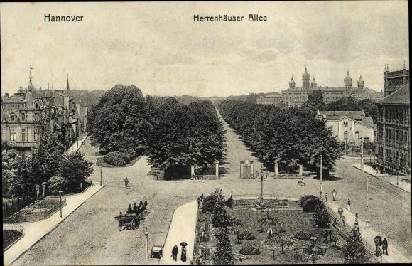 Ak Hannover in Niedersachsen, Herrenhäuser Allee, Kutsche, Häuser