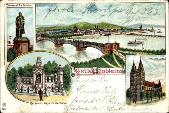 Litho Koblenz in Rheinland Pfalz, Denkmal, Kaiserin Augusta Denkmal, A. v. Goeben Denkmal