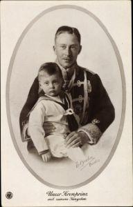 Ak Kronprinz Wilhelm von Preußen, jüngster Sohn, Husarenuniform, NPG