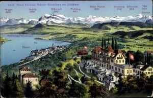 Ak Rüschlikon Kt. Züric, Hotel Belvoir Rüschlikon, Zürichsee, Bergkette, Horgen, Thalwil, Wädenswil