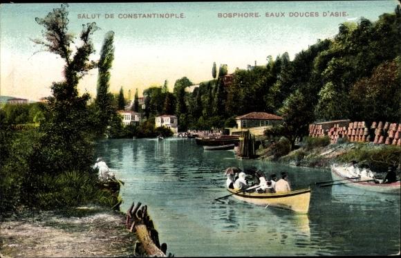 Ak Konstantinopel Istanbul Türkei, Bosporuspartie, Ruderboot