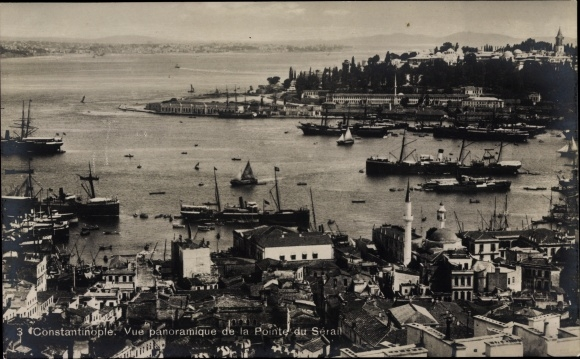 Ak Konstantinopel Istanbul Türkei, Vue panoramique de la Pointe du Sérail