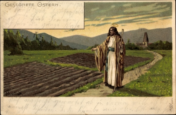 Künstler Litho Mailick, Glückwunsch Ostern, Jesus, Heiligenschein, Feld