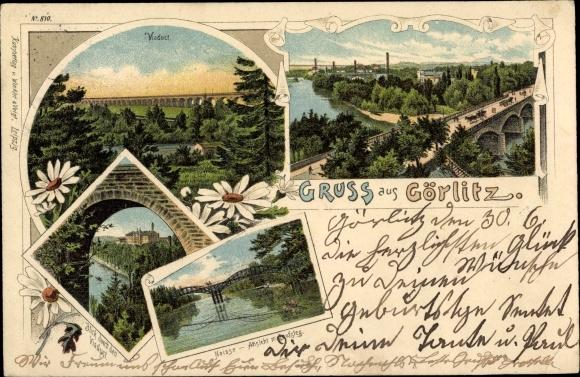 Litho Görlitz in der Lausitz, Viadukt, Neisse, Ansicht m. Laufsteg, Panorama vom Ort