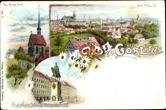 Litho Görlitz in der Lausitz, Das heilige Grab, Panorama vom Ort, Kaiser Wilhelm Denkmal