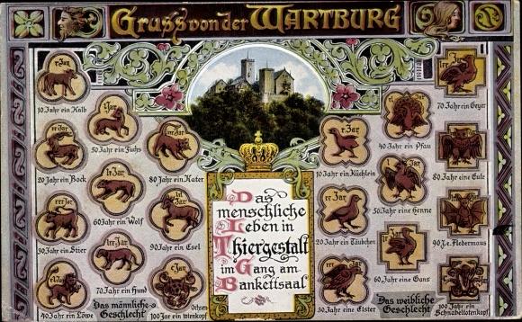 Ak Lutherstadt Eisenach in Thüringen, Wartburg, Das menschl. Leben in Tiergestalt, Bankettsaal