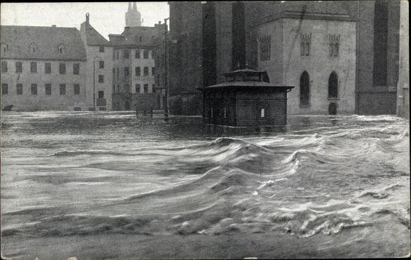 Ak Nürnberg in Mittelfranken Bayern, Hochwasser 5 Februar 1909, Obstmarkt