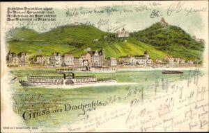 Litho Königswinter am Rhein, Drachenfels, Teilansicht vom Ort, Rhein, Burg, Flussdampfer, Gedicht