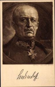 Künstler Ak Bauer, Karl, General Erich Friedrich Wilhelm Ludendorff, Portrait, Eisernes Kreuz