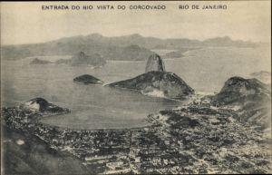 Ak Rio de Janeiro Brasilien, Entrada do rio vista do corcovado, Stadtansicht, Küste, Zuckerhut