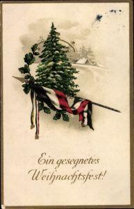 Präge Litho Glückwunsch Weihnachten, Tannenbaum, Fahne