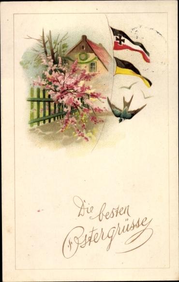 Litho Glückwunsch Ostern, Schwalbe, Fahne, Patriotik Kaiserreich, Novitas 904