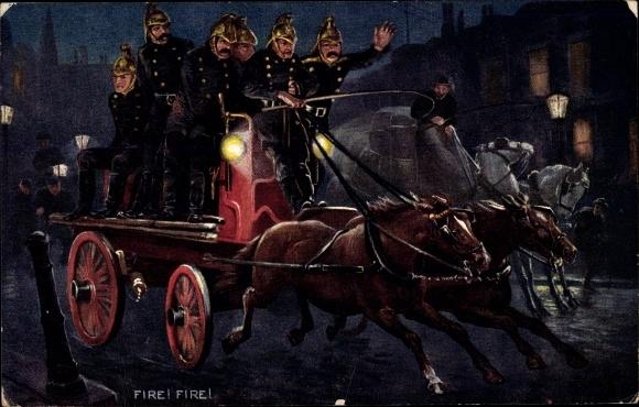 Künstler Ak Fire Brigade, Feuerwehr, Einsatzwagen, Pferdewagen, Tuck Series II No 9306