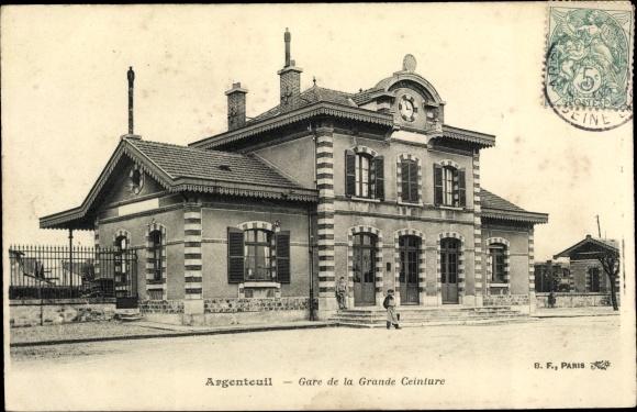 Ak Argenteuil Val d'Oise, Gare de la Grande Ceinture, Bahnhof