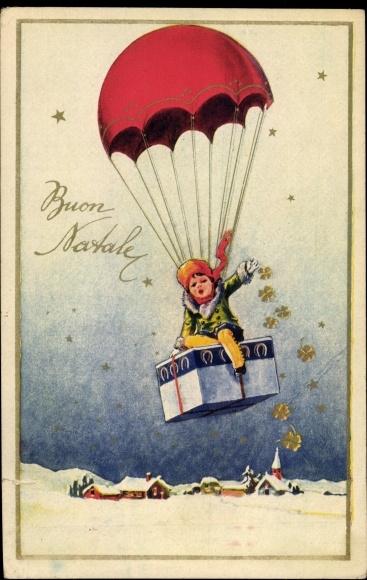 Ak Buon Natale, Frohe Weihnachten, Fallschirm, Kleeblätter
