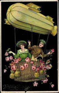Präge Ak Glückwunsch Neujahr, Geldsäcke, Luftschiff, Zeppelin, Kitsch