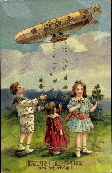 Präge Ak Glückwunsch Geburtstag, Kleeblätter, Hufeisen, Zeppelin, Kitsch, EAS