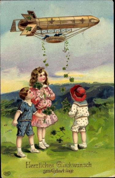 Präge Ak Glückwunsch Geburtstag, Kleeblätter, Zeppelin, Kitsch, EAS
