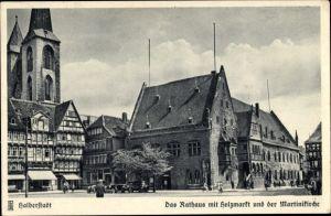 Ak Halberstadt in Sachsen Anhalt, Rathaus mit Holzmarkt, Martinikirche