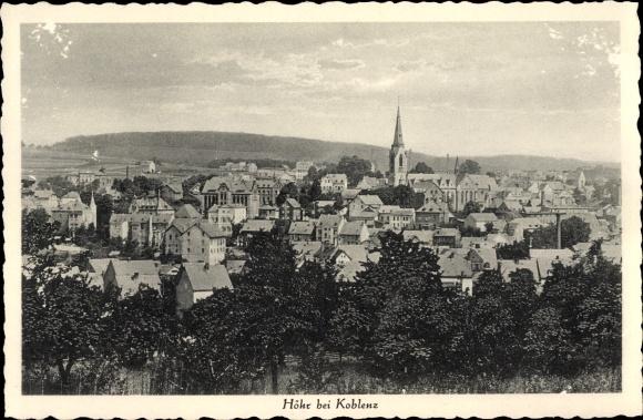Ak Höhr Grenzhausen im Westerwaldkreis, Blick auf den Ort, Kirche