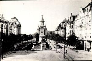 Ak Timișoara Temeswar Rumänien, Bulevardul 30 Decembrie, Straßenbahn, Kirche