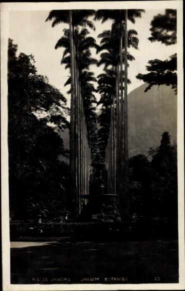 Ak Rio de Janeiro Brasilien, Jardim Botanico, Palmen, Brunnen