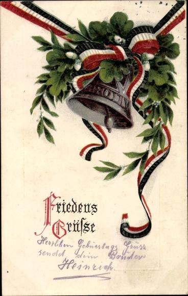 Präge Litho Friedensgrüße, Glocke, Eichenlaub, Lorbeer