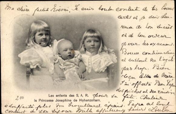 Ak Kinder von Josephine von Belgien, Ehefrau von Karl Anton von Hohenzollern