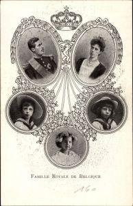 Ak Famille Royale de Belgique, König Albert I, Elisabeth Gabriele in Bayern, Kinder