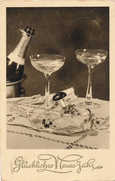 Ak Glückwunsch Neujahr, Sektgläser, Champagner, Flasche