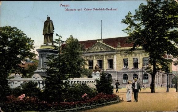 Ak Poznań Posen, Museum und Kaiser Friedrich Denkmal