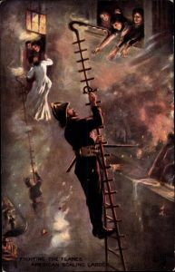 Künstler Ak Fighting the flames, American Scaling Ladder, Feuerwehrleiter