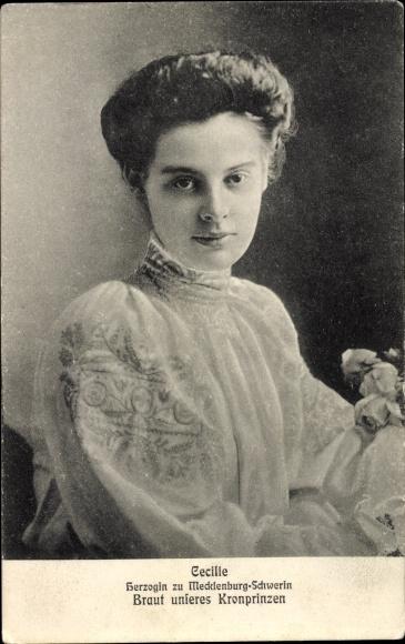 Ak Kronprinzessin Cecilie von Preußen, Herzogin zu Mecklenburg Schwerin, Portrait