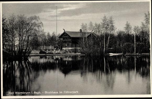 Ak Cieplice Śląskie Zdrój Bad Warmbrunn Schlesien, Blockhaus im Füllnerpark