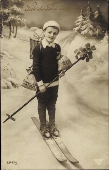 Ak Glückwunsch Neujahr, Junge, Skier, Kleeblätter, Geldsäcke