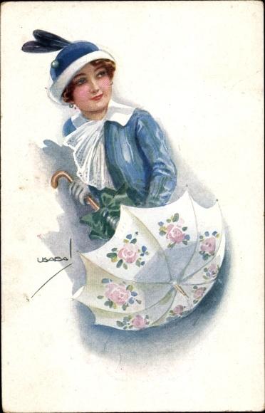 Künstler Ak Usabal, Luis, Frau mit Regenschirm, Hut, RKL 305 6