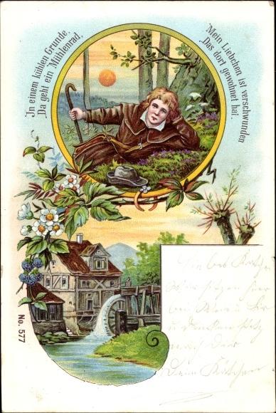 Lied Litho In einem kühlen Grunde, Wassermühle, Mann