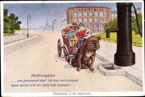 Künstler Ak Hundeleben in der Gegenwart, Hoffnungslos, Hundekarren, Bücher, Wasserpumpe, Novitas