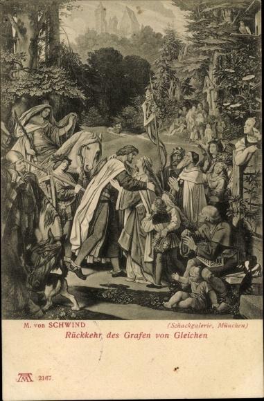 Künstler Ak Schwind, M. von, Rückkehr des Grafen von Gleichen, Ackermann 2167