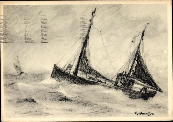 Künstler Ak Quintyn, R., Fischerboot im Sturm, En pleine mer