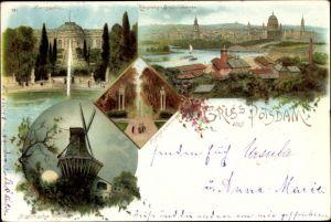 Litho Potsdam in Brandenburg, historische Mühle, Schloss Sanssouci, Panorama v. Brauhausberg