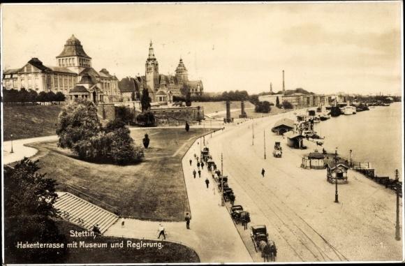 Ak Szczecin Stettin Pommern, Hakenterrasse mit Museum und Regierung